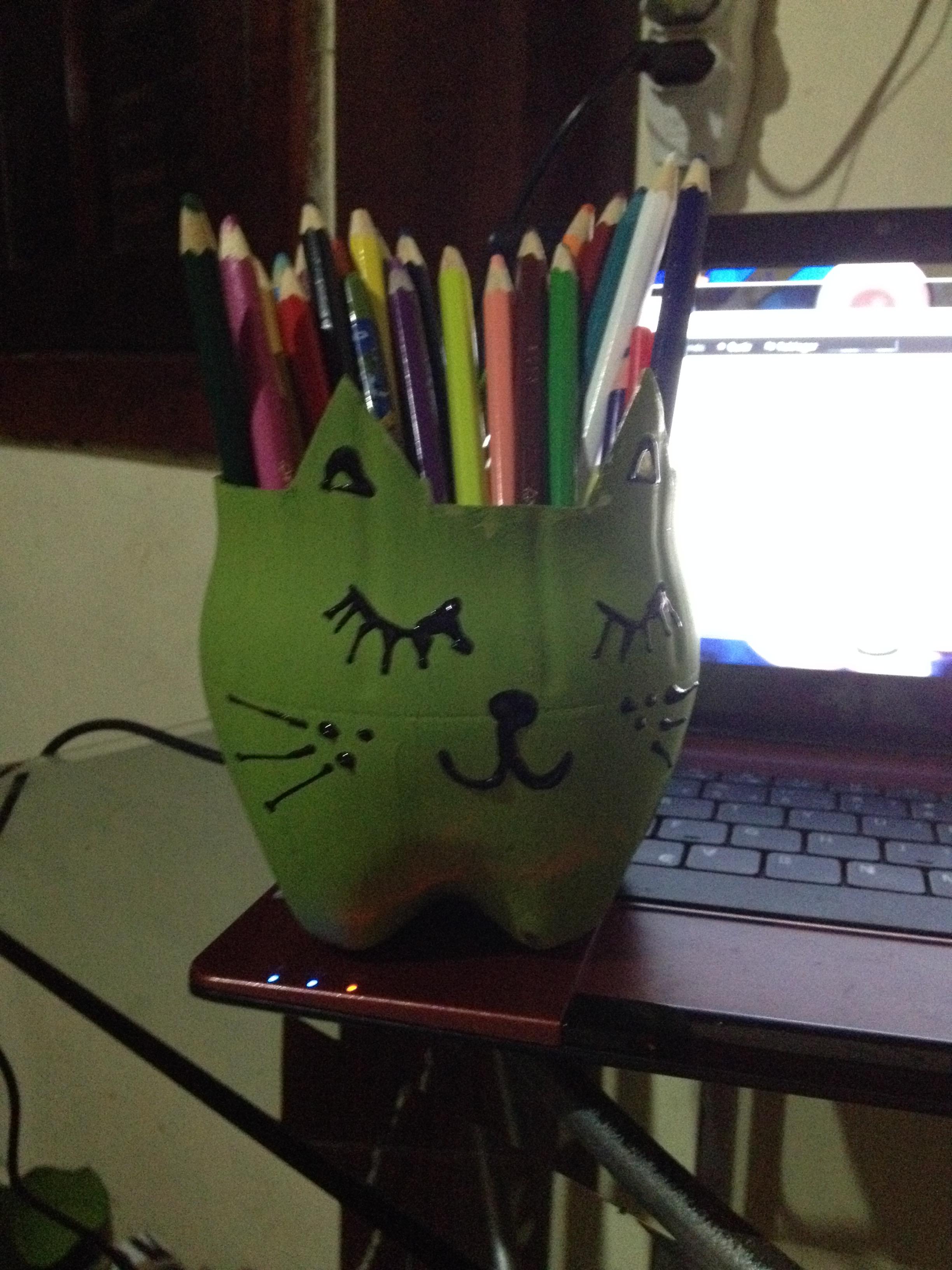 Suficiente Como fazer porta lápis de gatinho com garrafa pet | GUEDÊ VIEIRA WE63